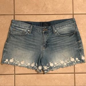 Lucky Brand The Cutoff Embroidered Jean Shorts